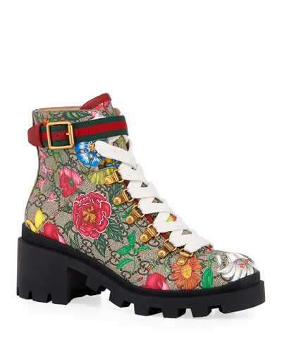 Trip 40mm Floral Canvas Hiker Boots