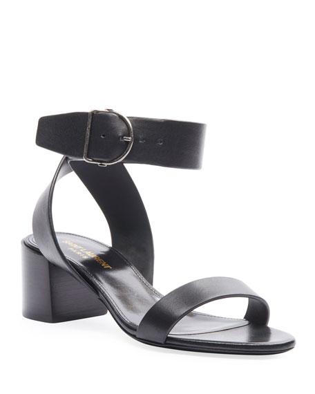 Saint Laurent Charlie Buckle Ankle-Strap Sandals
