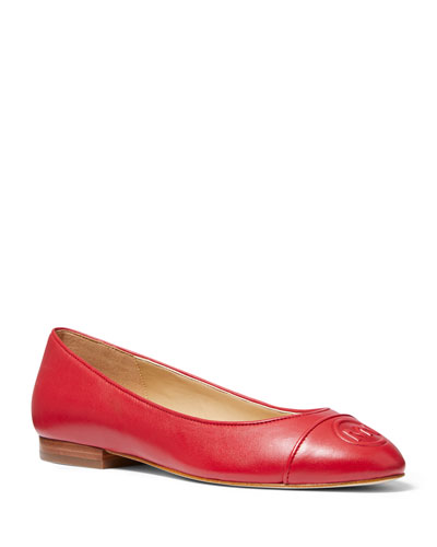 Dylyn Leather Logo Ballet Flats