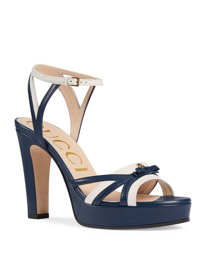 Alison Two-Tone Leather Bow Platform Sandals