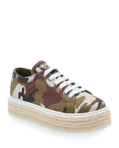 Prada Camo Canvas Platform Sneaker-Style Espadrilles