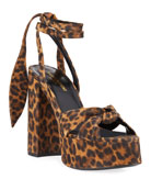 Saint Laurent Bianca Knotted Leopard Suede Platform Sandals
