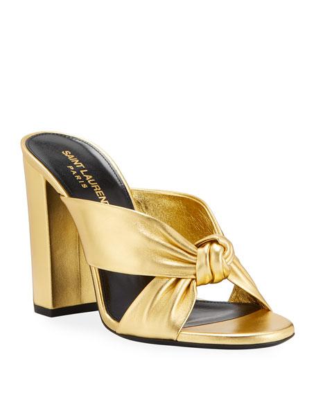Saint Laurent Loulou 100mm Metallic Leather Mule Sandals