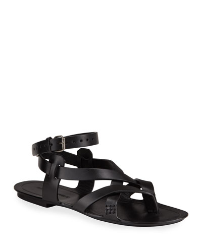Culver Flat Leather Buckle Ankle-Strap Sandals