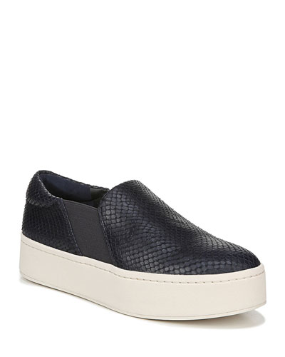 Warren Embossed Leather Platform Skate Sneakers