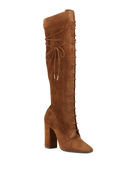 Saint Laurent Laura Lace-Up Suede Knee Boots