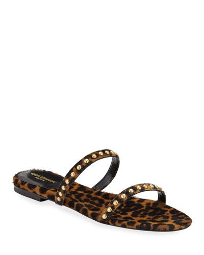 Kiki Leopard Calf Hair Flat Sandals