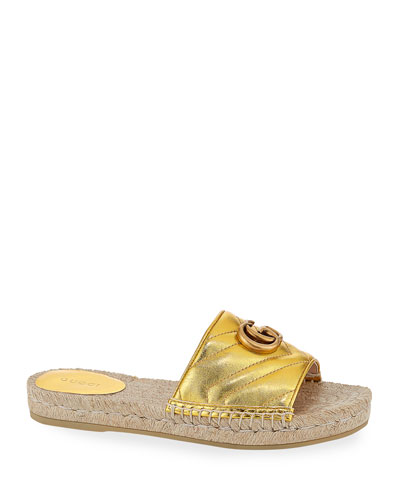 Pilar Flat Metallic Espadrille Slide Sandals