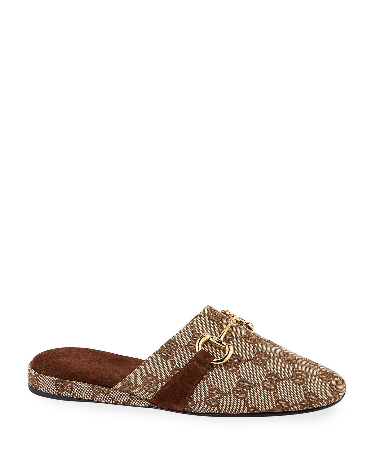 Gucci Slippers PERICLE GG CANVAS HORSEBIT MULES