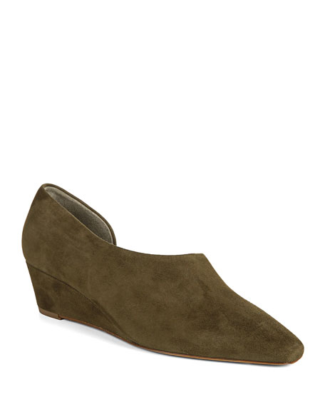 Vince Barolo Asymmetric Suede Wedge Loafers