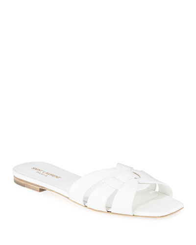 Nu Pieds Flat Woven Leather Slide Sandals
