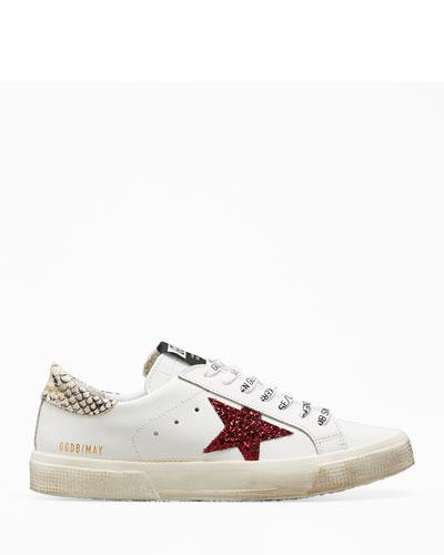 Victoria Of Spain Kids White Sneakers Leather Appliqu/é 33M, White