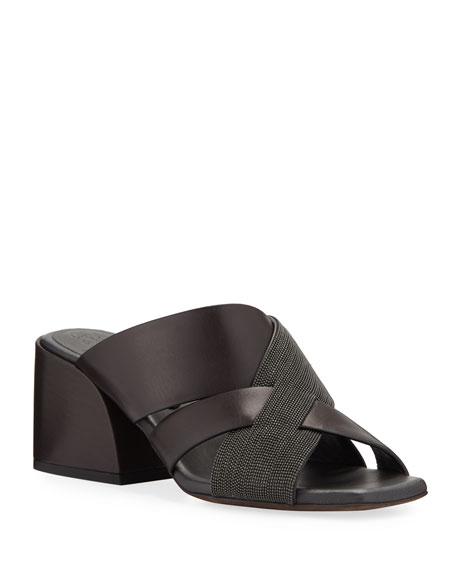 Brunello Cucinelli 60mm Leather City Slide Sandals with Monili Cross