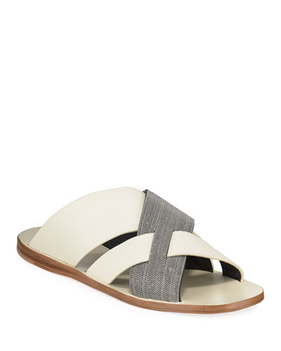Flat Monili & Leather Crossover Sandals