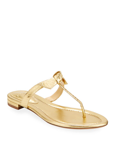 Clarita Naked Flat Watersnake T-Strap Sandals