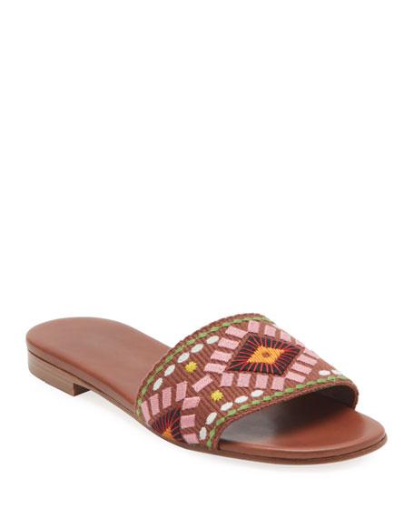 Prada Embroidered Flat Slide Sandals