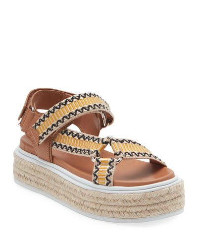 Jacquard and Leather Platform Espadrilles