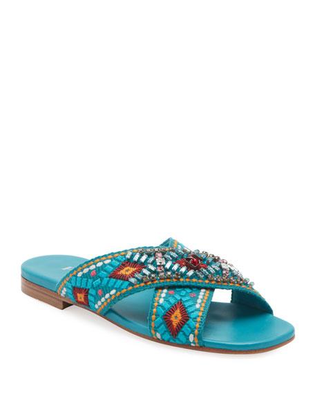 Prada Jeweled Jacquard Flat Sandals
