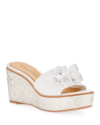 Idina Embellished Wedge Sandals, White