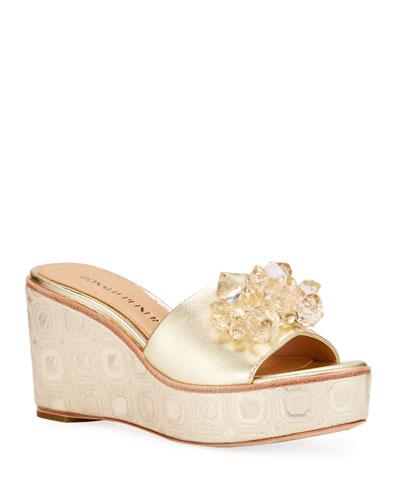 LADIES JEWEL Flower Padded Wedge Sandals  Black Blue Grey White Size 3 4 5 6 7 8
