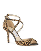 Jimmy Choo Emsy 85mm Leopard Sandals