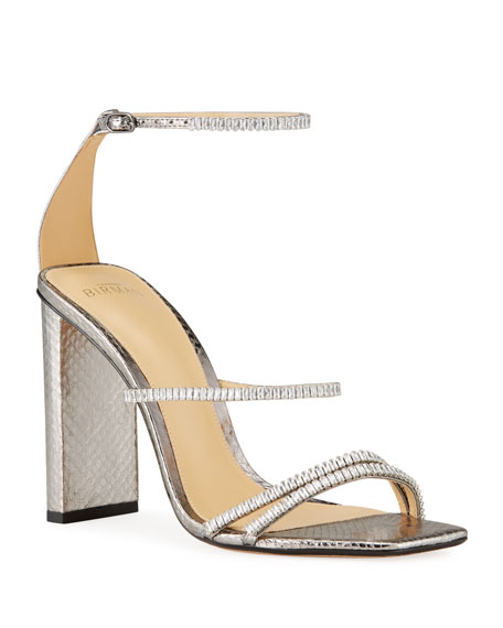 Alexandre Birman Lacy Snakeskin Embellished Sandals