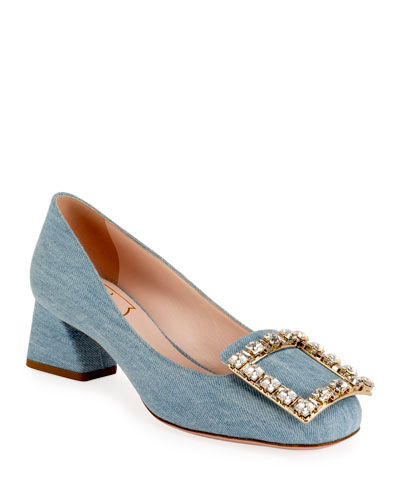 Tres Vivier 45mm Denim Crystal-Buckle Pump