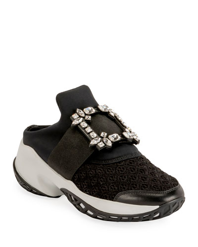 Viv' Run Crystal-Buckle Mule Sneakers