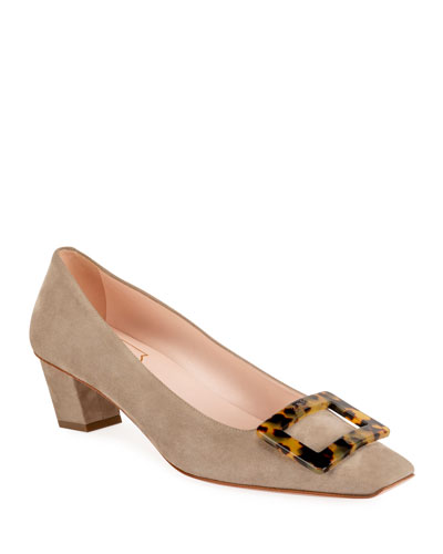 Belle Vivier 45mm Suede Pumps with Tortoise Buckle