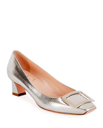 Decolette Trompette 45mm Metallic Herringbone Pumps