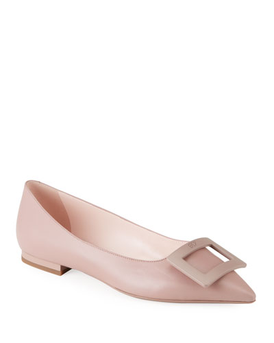 Leather Lined Pedro Garcia /'Sophie/' Large Bow Flat Pump Satin Upper