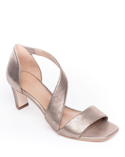 Camille Metallic Leather Crossover Strap Sandals