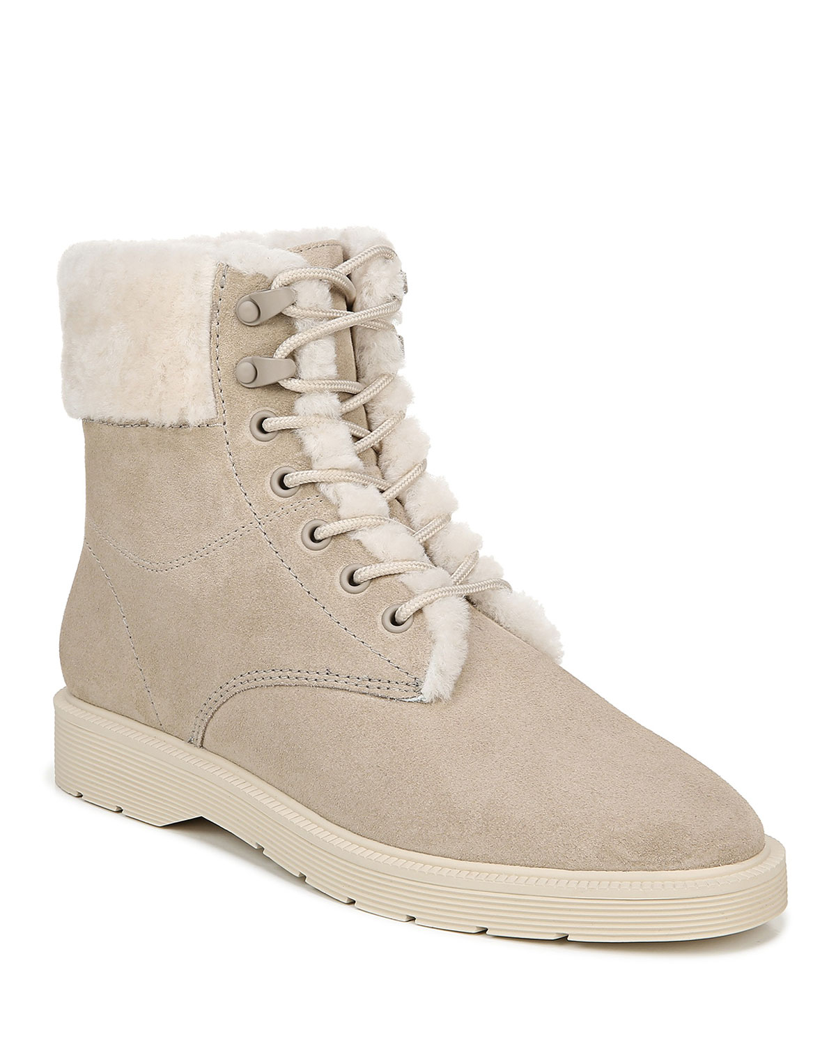 Vince Boots HAYES SHEARLING-LINED LACE-UP BOOTS