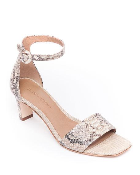 Bernardo Cameron Snake-Print Leather Sandals
