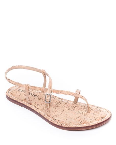 Bernardo Lexi Cork Toe-Strap Flat Sandals
