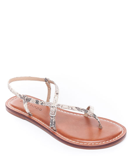 Bernardo Lexi Snake-Print Leather Flat Sandals