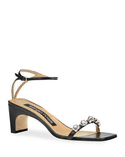 SR1 Mid-Heel Leather Stone Sandal