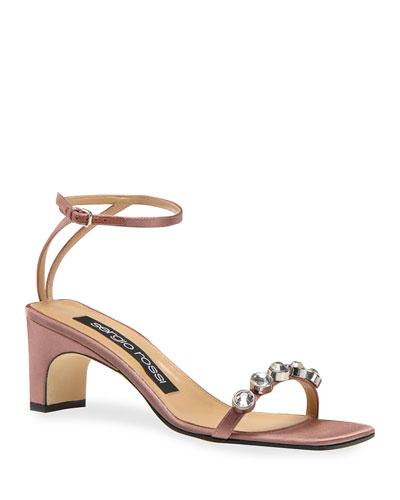 SR1 Mid-Heel Satin Stone Sandal