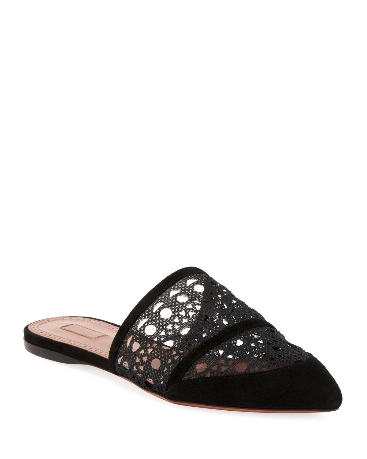 Flat Mesh and Suede Mules