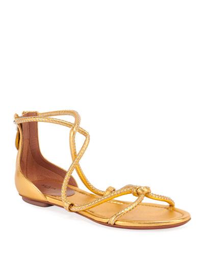 Flat Tubular Studded Sandals