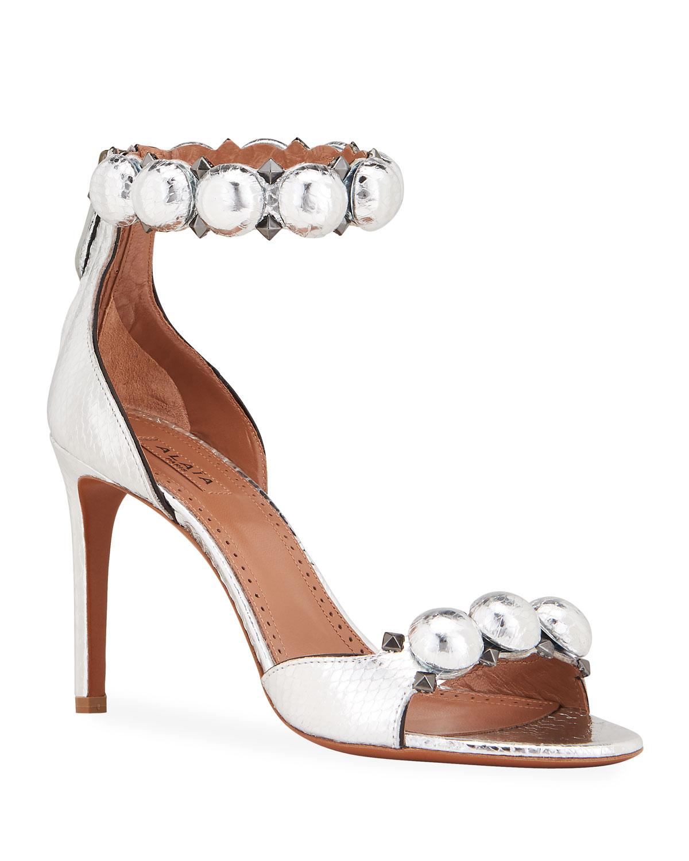 Bombe Stud Snakeskin Ankle-Wrap Sandals