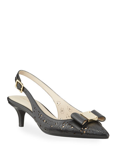 Tali Grand Bow Kitten-Heel Leather Pumps