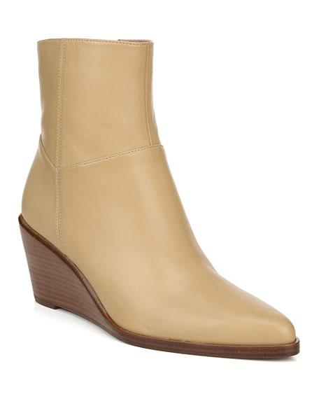 Vince Mavis Leather Wedge Booties