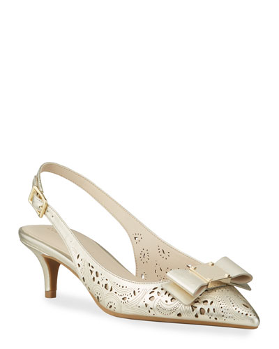 Tali Grand Bow Kitten-Heel Metallic Leather Pumps