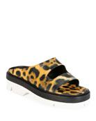 Dries Van Noten Two-Strap Leopard Calf Hair Slide