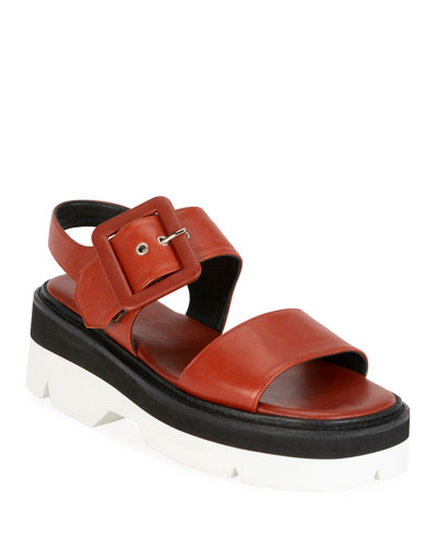 Leather Strappy Chunky Sandals