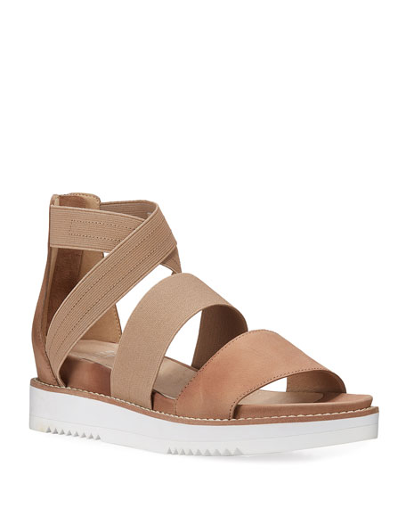Eileen Fisher Klay Leather Stretch Wedge Sandals