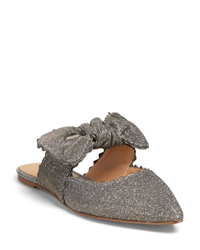 Elle Flat Glitter Point-Toe Mules