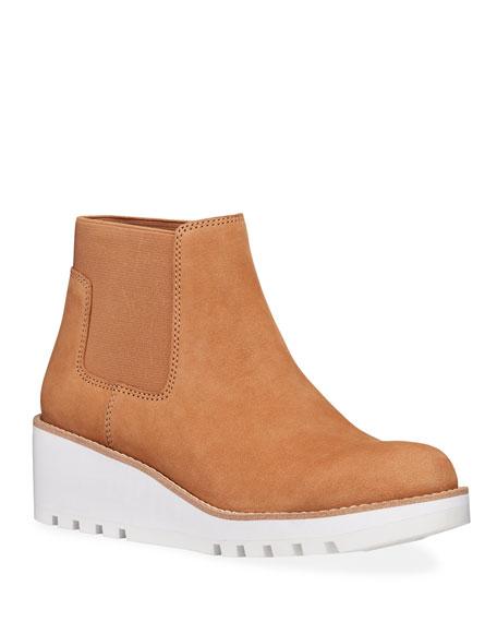 Eileen Fisher Nubuck Low-Wedge Chelsea Boots