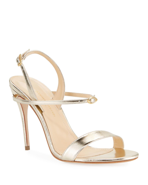 Tomaso Metallic Leather Slingback Sandals